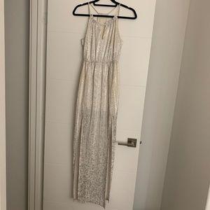 BCBG White Maxi Dress with Silver Metallic Pattern